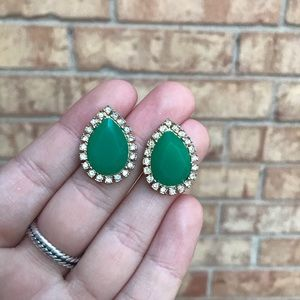 Kate Spade Teardrop Green & Diamond Stud Earrings